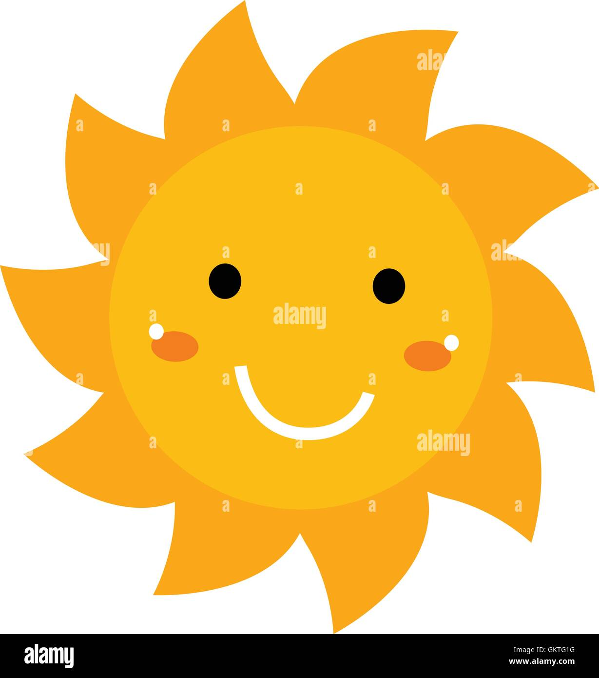 hight resolution of pretty smiling sun clipart isolated on white