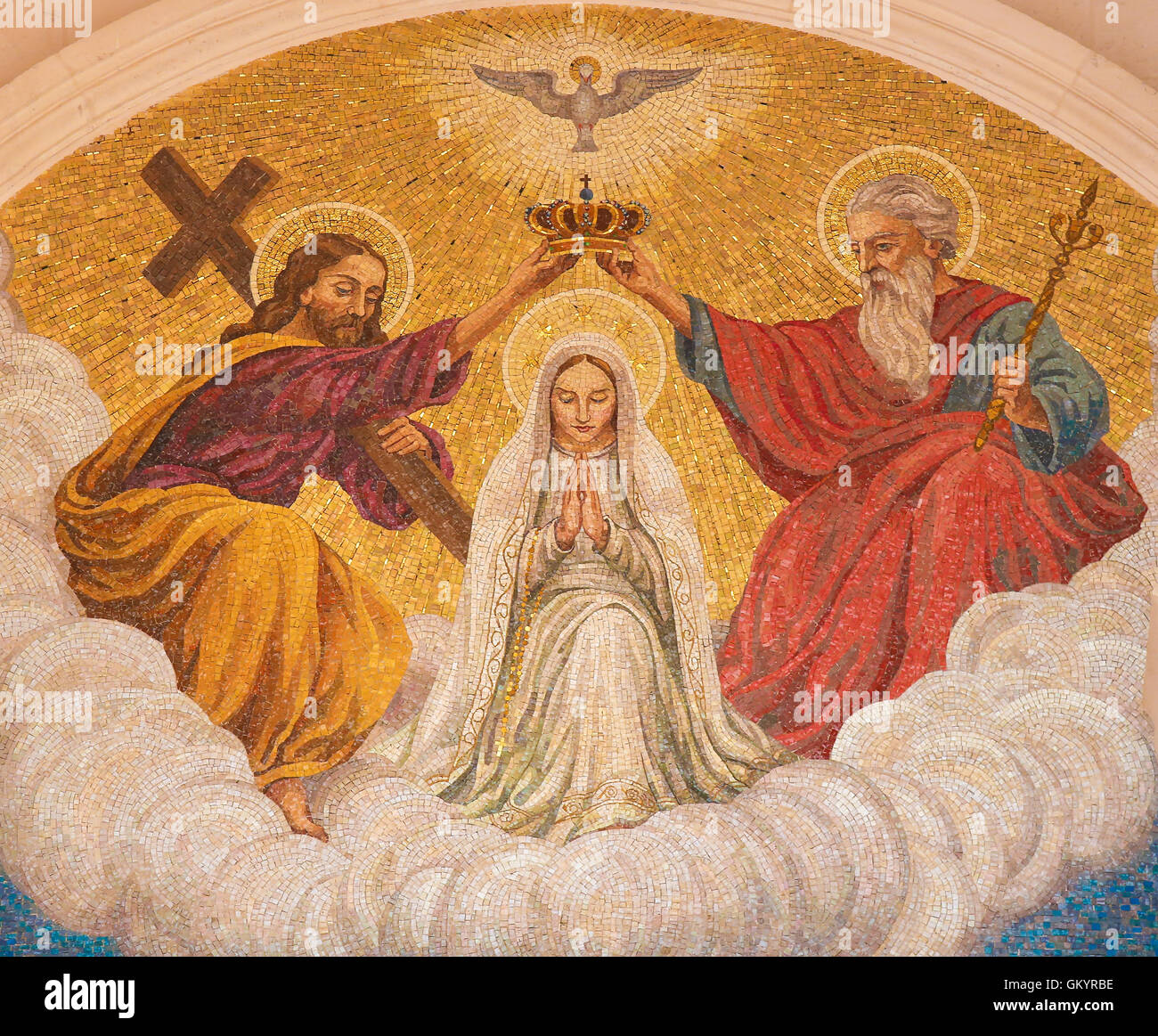 Painting Of The Coronation Of Mother Mary By The Holy