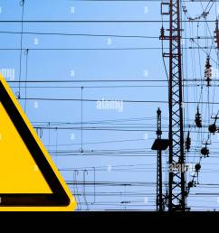 high voltage sign and railway overhead wiring [ 1300 x 956 Pixel ]