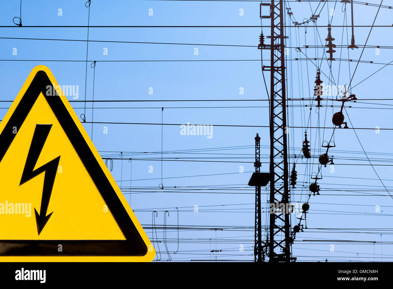 hight resolution of high voltage sign and railway overhead wiring