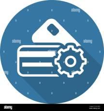 Credit Card Processing Icon. Flat Design Stock Vector Art