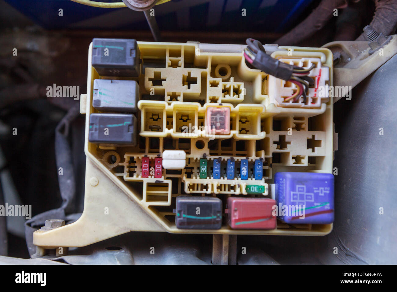 hight resolution of the man opening fuse box of old car stock photo 116320494 alamy old apartment fuse box old car fuse box