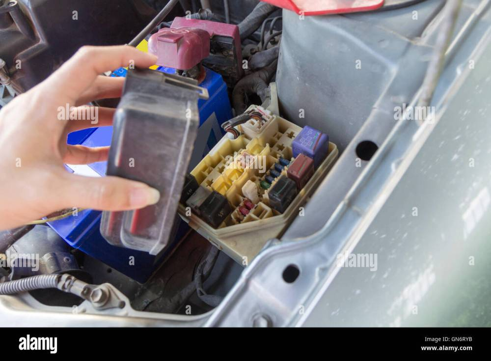 medium resolution of the man opening fuse box of old car stock image