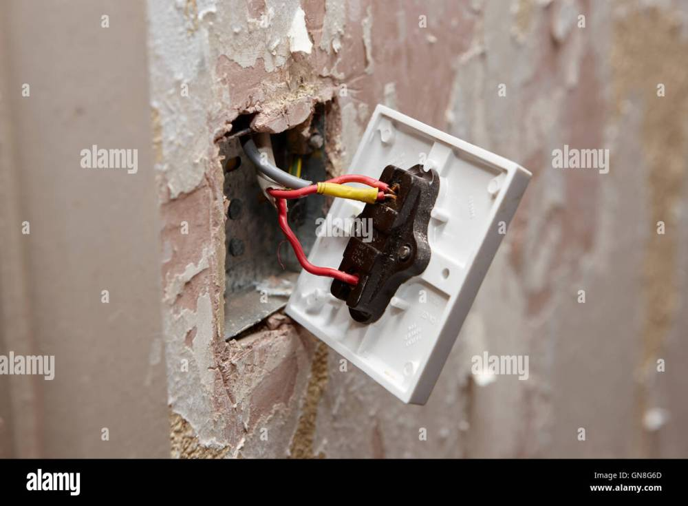 medium resolution of bare wiring on back of light switch in house being redecorated in the uk