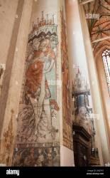 medieval church mural mary century 14th polychromes alamy st