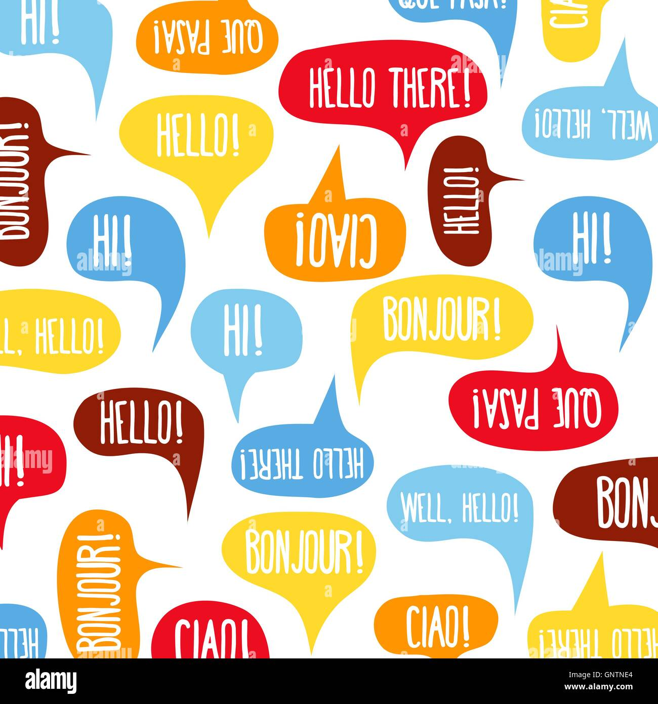Speech Bubbles With Hello On Different Languages Stock