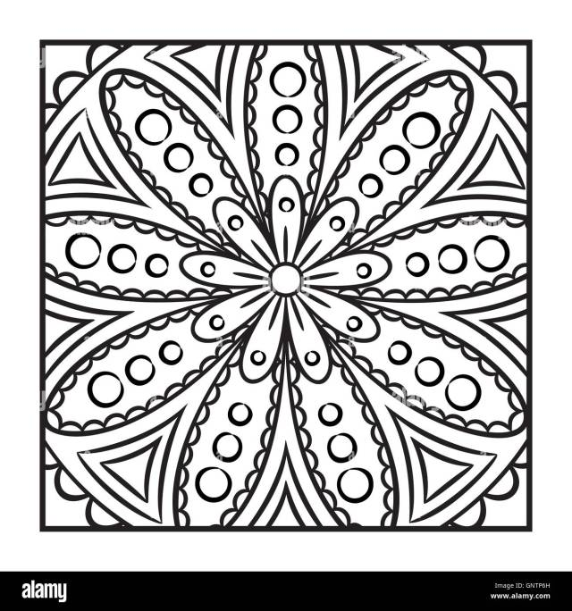 Doodle Mandala Coloring Page Stock Vector Image & Art - Alamy