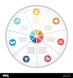 pie chart diagram data 7 options for text area template infographic with icons and numbered [ 1300 x 1390 Pixel ]