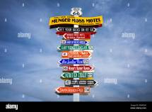 Funny Direction Signpost Munger Moss Motel With