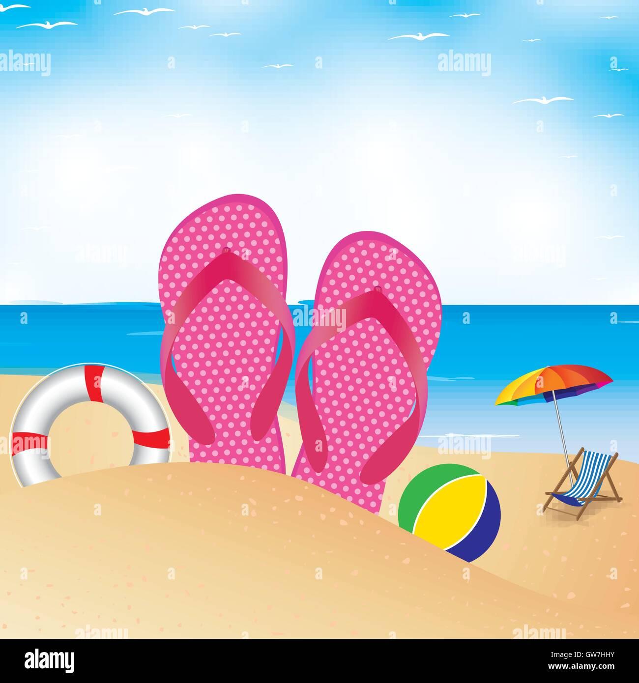 Beach Chair Vector Illustration Summer Umbrella Background Stock Vector Image Art Alamy