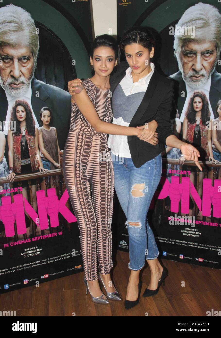Pink (2016 Film) : (2016, film), Bollywood, Actors, Taapsee, Pannu, Andrea, Tariang, During, Media, Stock, Photo, Alamy