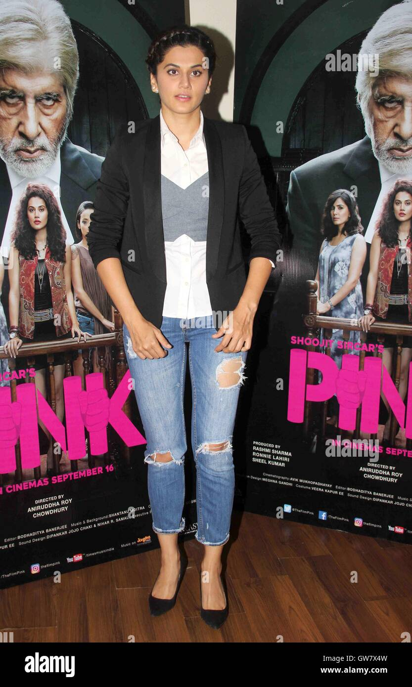 Pink (2016 Film) : (2016, film), Bollywood, Actor, Taapsee, Pannu, During, Media, Interaction, Stock, Photo, Alamy