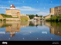 Narva River. Estonian-russian Border Europe Stock