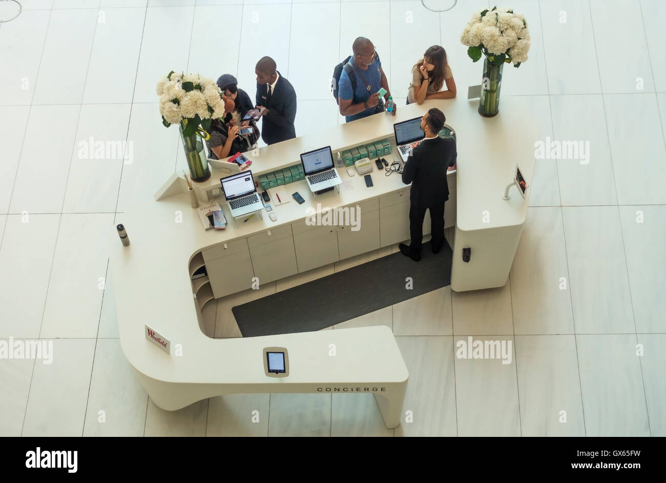 The concierge desk in the Oculus of the World Trade Center