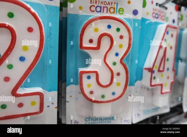 Number 3 Birthday Candle Party City Nyc Stock