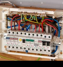exposed wiring in domestic consumer unit circuit breaker in the uk rh alamy com wiring consumer unit busbar wiring consumer unit split load [ 1300 x 956 Pixel ]