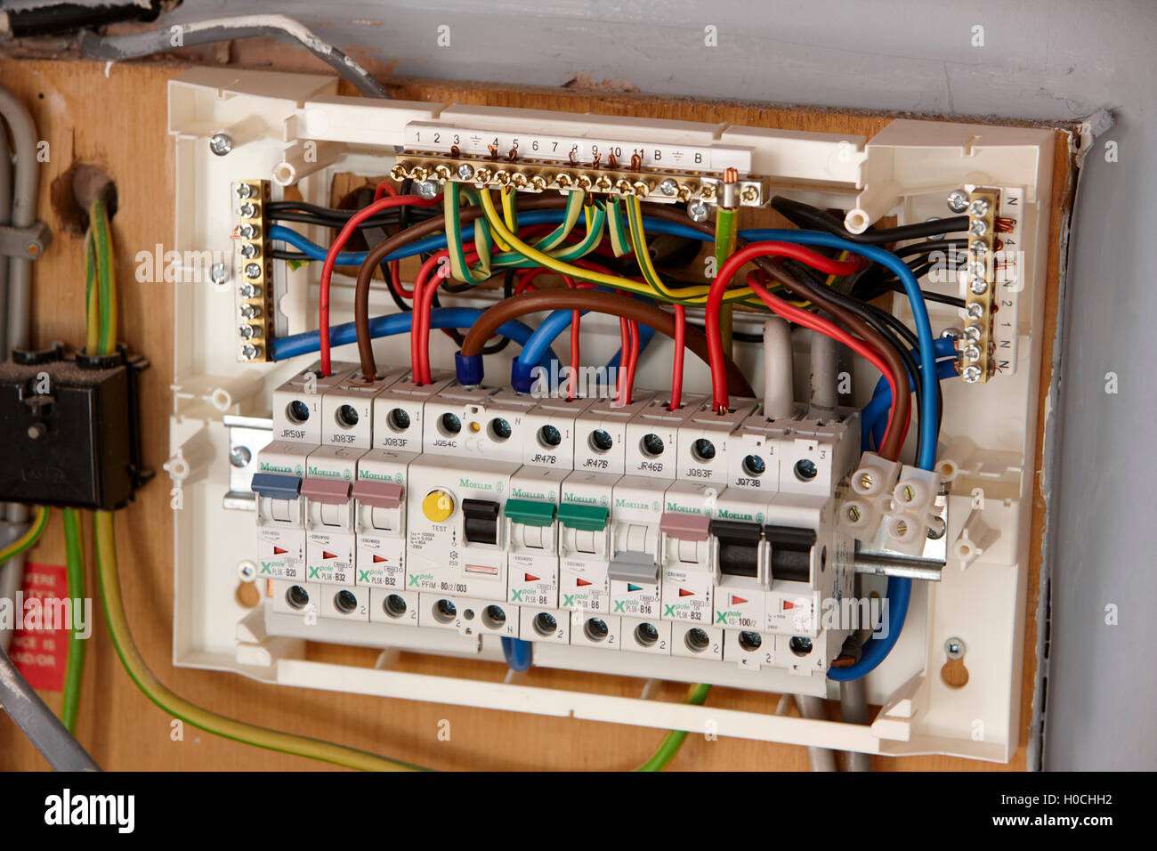 hight resolution of exposed wiring in domestic consumer unit circuit breaker in the uk rh alamy com wiring consumer unit busbar wiring consumer unit split load