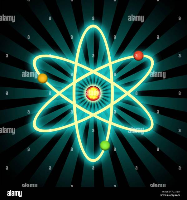 Science Related Graphic Design With Atom And Electrons