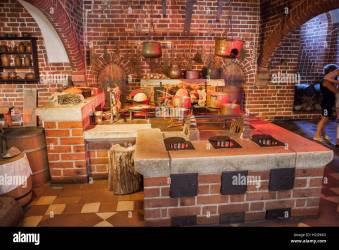 Poland Malbork Castle interior medieval Convent Kitchen in High Stock Photo Alamy