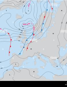 Imaginary weather map showing isobars and fronts europe stock image also forecast photos  rh alamy