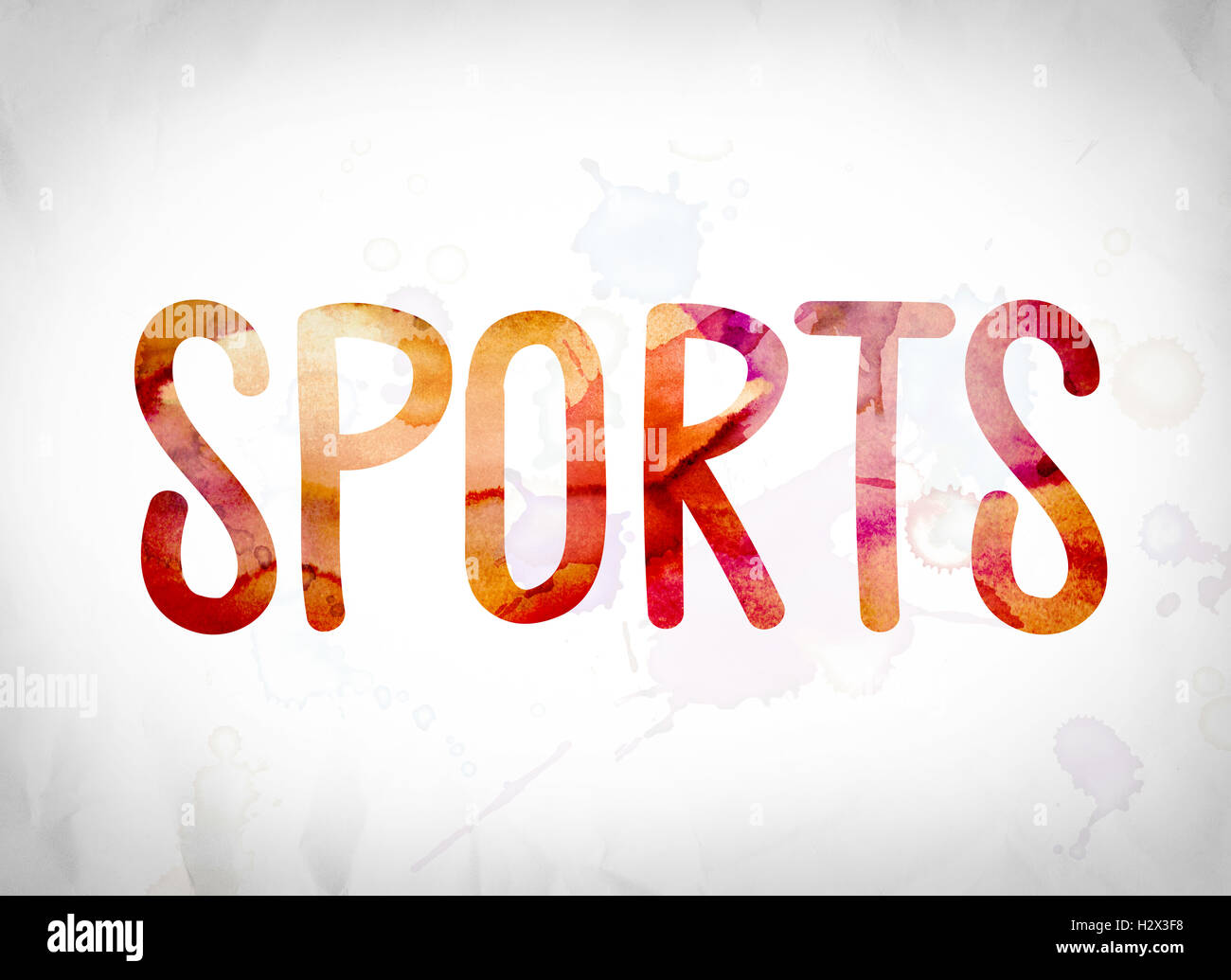 The Word Sports Written In Watercolor Washes Over A