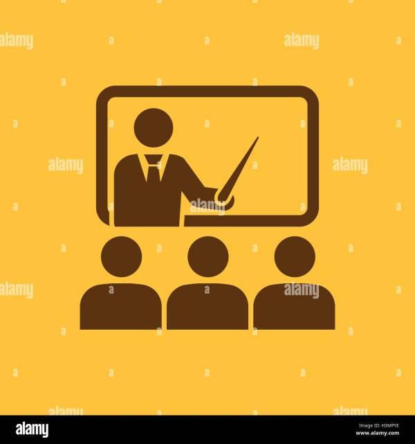 Training Icon Teacher Learner Classroom Stock