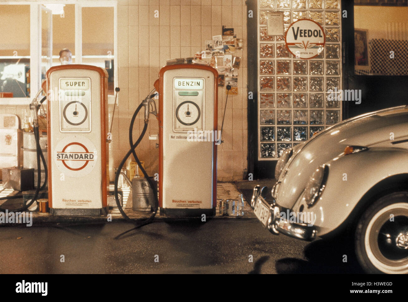 hight resolution of nostalgia the 50s filling station petrol pumps car vw detail nostalgically vehicle passenger car vw beetle old timer fuel petrol super fuel