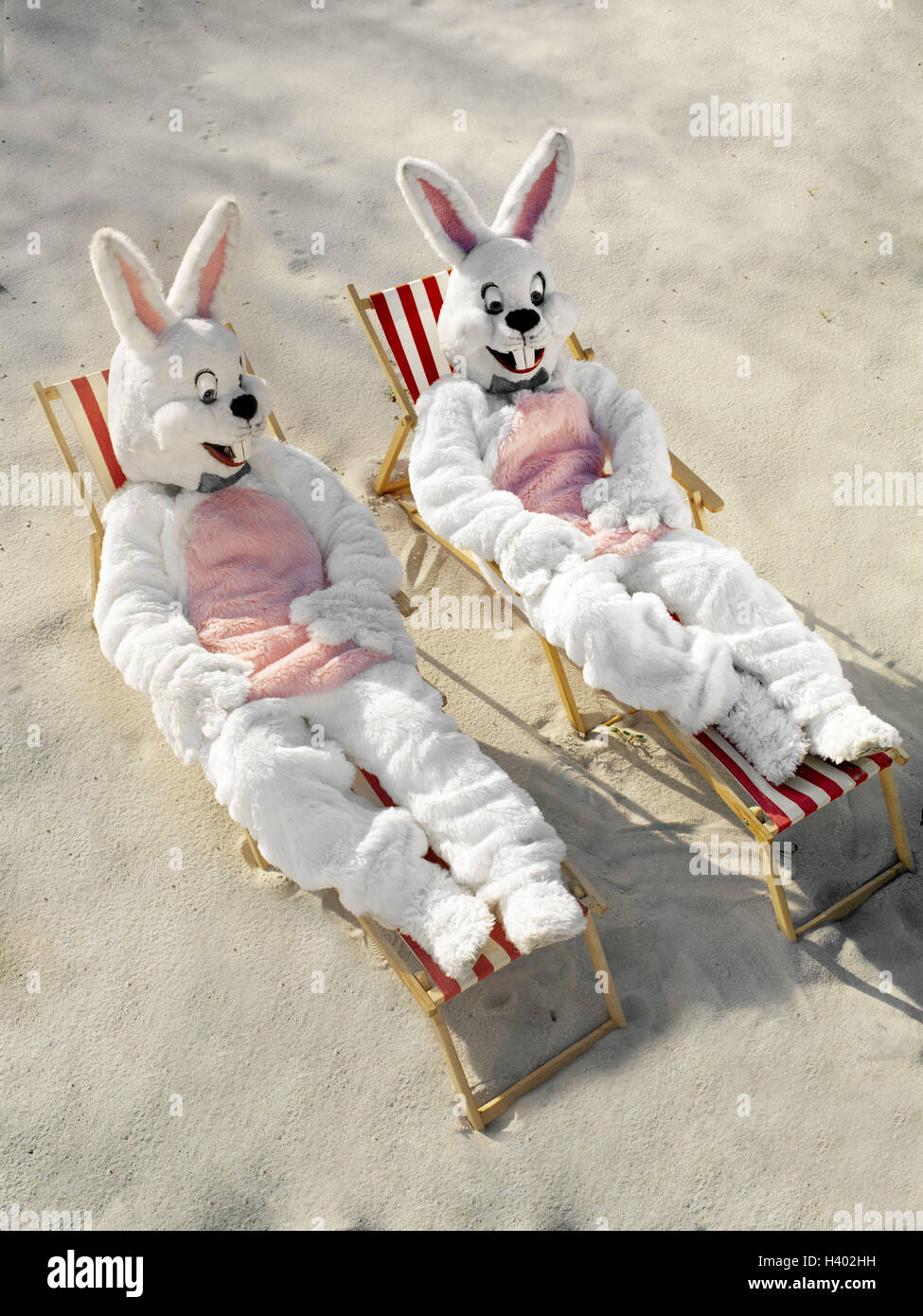Sandy beach deck chairs Easter bunnies rest lining