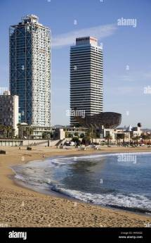 Spain Barcelona Beach Port Olimpic High Rises Mapfre