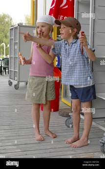 Boy Popsicle Stock & - Alamy