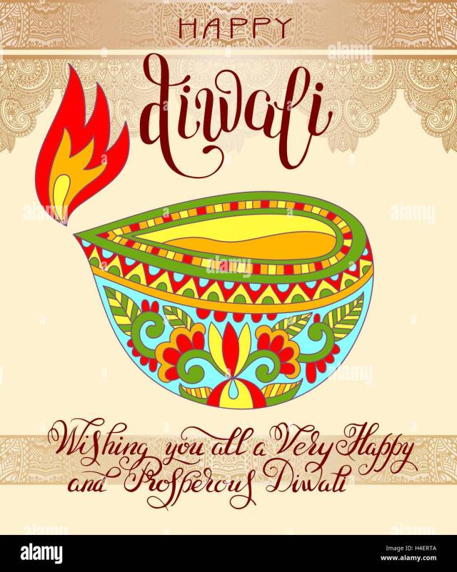 Happy Diwali greeting card with hand written inscription to indi