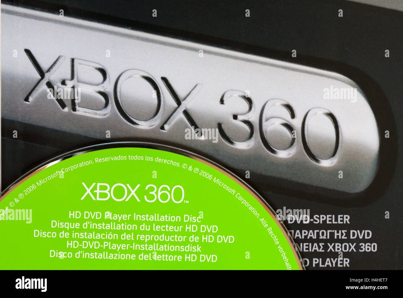 hight resolution of xbox 360 hd dvd player installation disc on box stock image