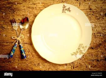 Menu background set vintage cutlery and dish on rustic wood Stock Photo Alamy