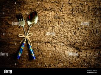 Menu background vintage set cutlery on rustic wood background with Stock Photo Alamy