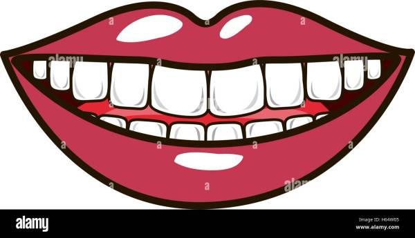 silhouette smiling lips with teeths and tongue Stock