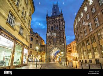 The Powder Tower medieval gothic city gate in Prague Czech Stock Photo Alamy