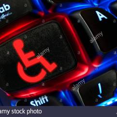Wheelchair Emoji Table And Chairs For Sale Shown On Backlit Stock Photos A Keyboard Dorset England Uk Image