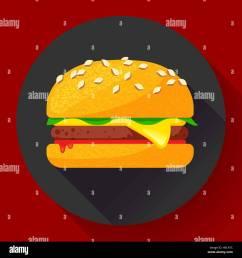 hot burger hamburger or cheeseburger vector fast food icon flat stock vector [ 1300 x 1390 Pixel ]