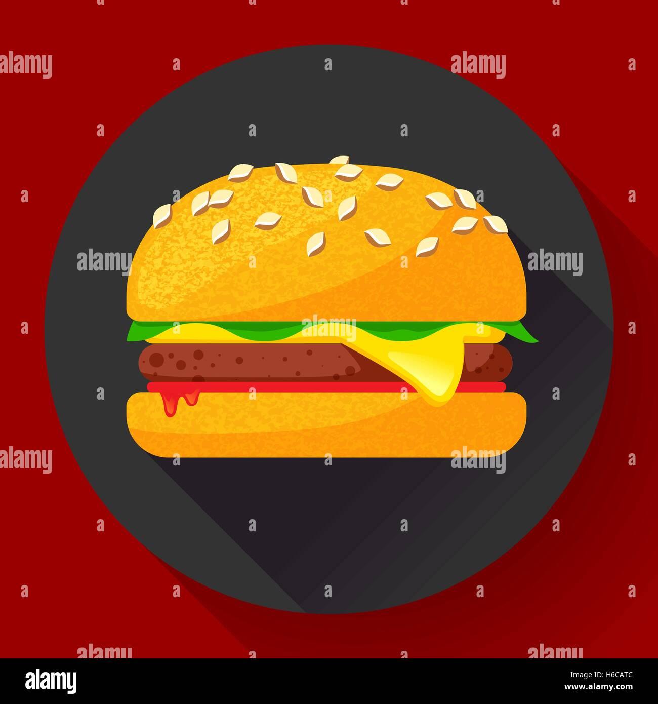 hight resolution of hot burger hamburger or cheeseburger vector fast food icon flat stock vector