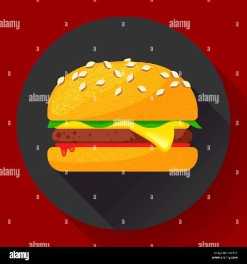 small resolution of hot burger hamburger or cheeseburger vector fast food icon flat stock vector