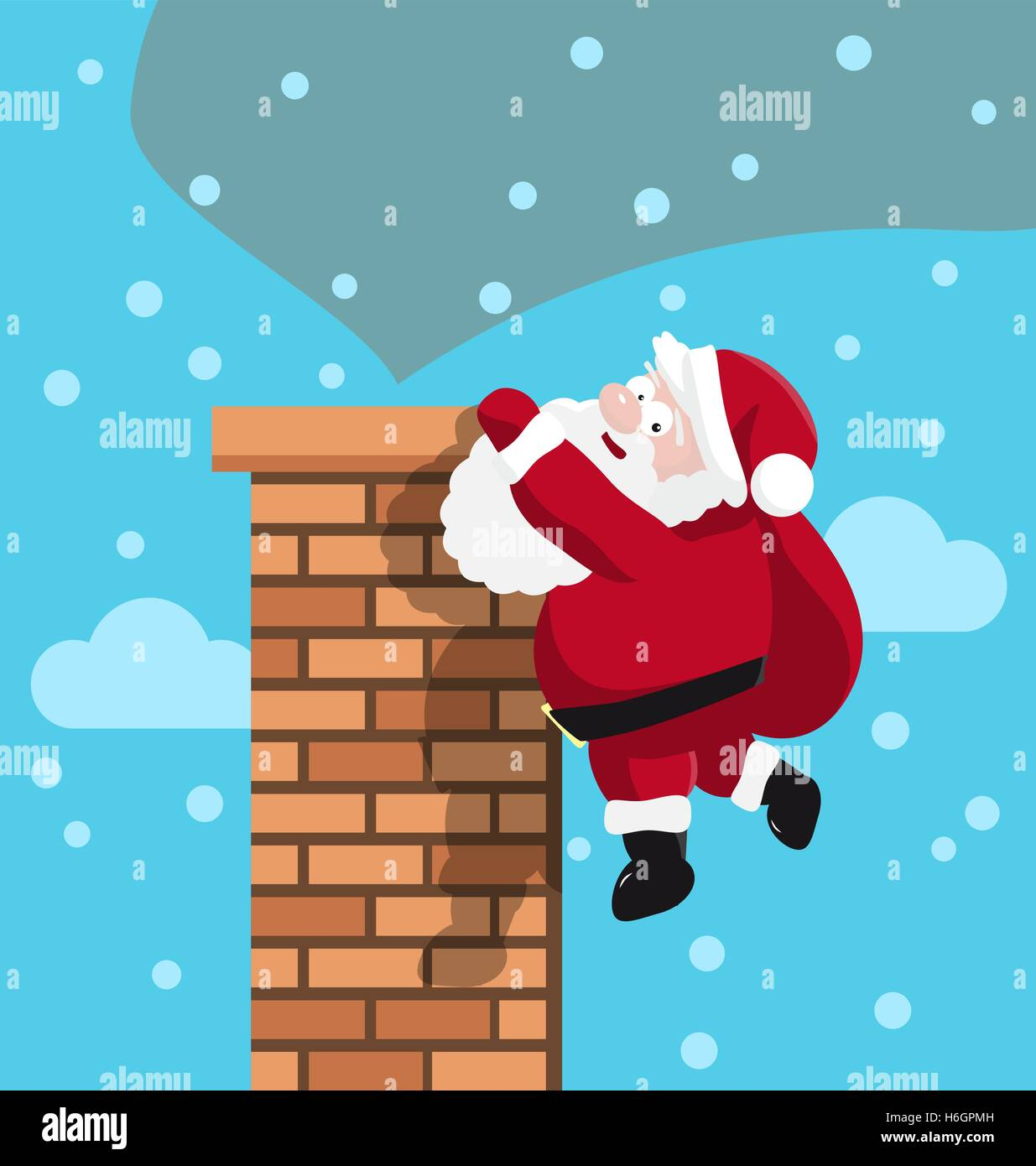 Santa hanging in chimney with gift bag. Vector