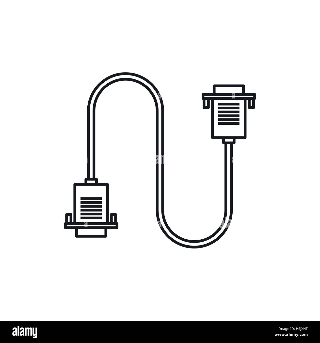 hight resolution of cable wire computer icon outline style
