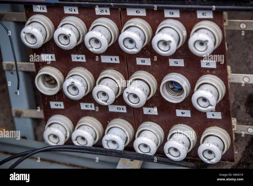 medium resolution of an old fuse panel with ceramic fuses from east germany seen in the former people s