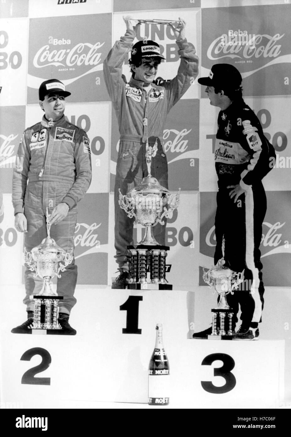 1st 2nd 3rd Podium : podium, Podium, Brazil, Alain, Prost, 1st-Michele, Alboreto, 2nd-Elio, Stock, Photo, Alamy