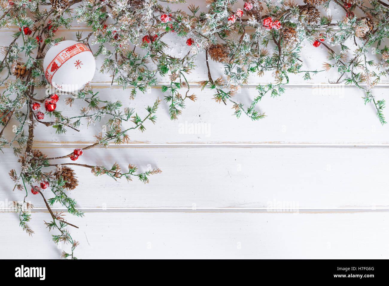 Christmas Border Design Snow Covered Stock Photos