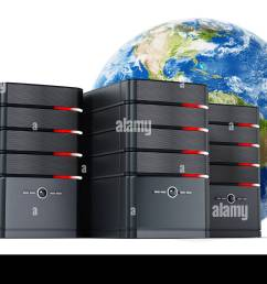 black computer cases in front of the earth model 3d illustration stock image [ 1300 x 870 Pixel ]