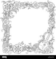 Coloring page   border, square frame with violin isolated ...