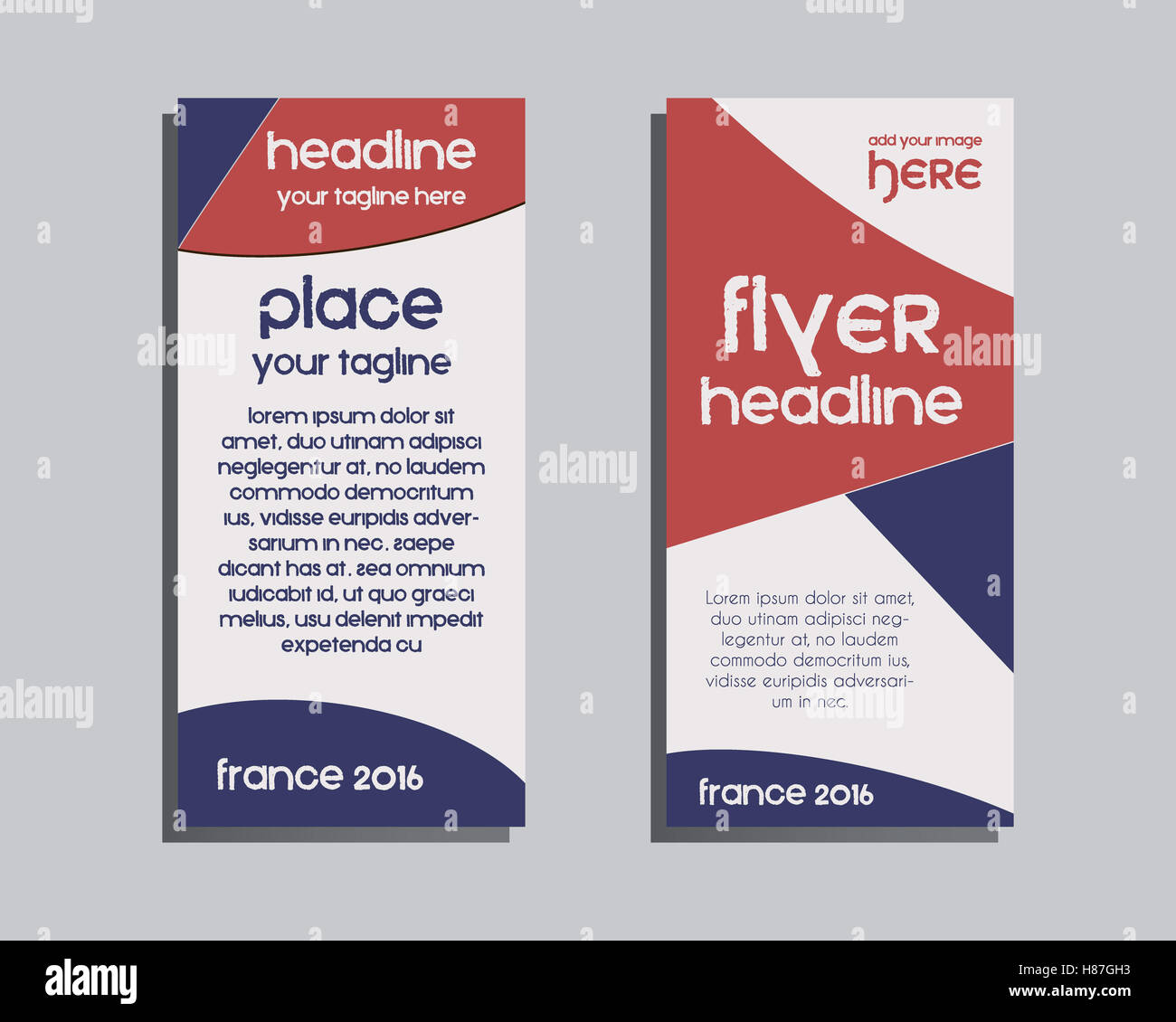 France 2016 Football Brochure Flyer Design Layout Template. Triangle  Abstract Style. The National Colors Of France Design. Isolated On Brown  Background.