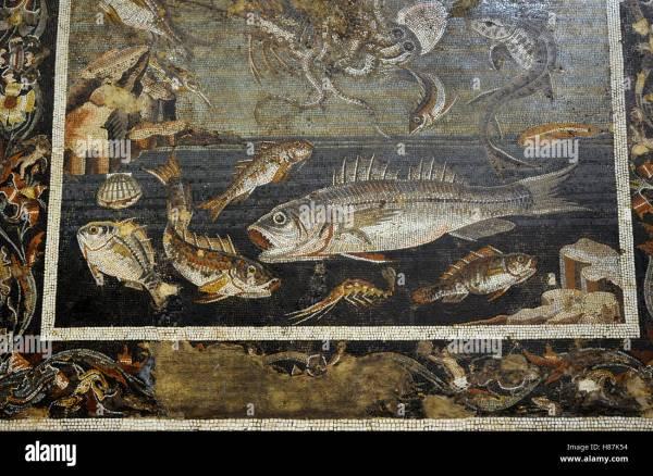 Roman Mosaic. Marine With Fish. Pompeii House Of Faun Vi Stock Royalty Free