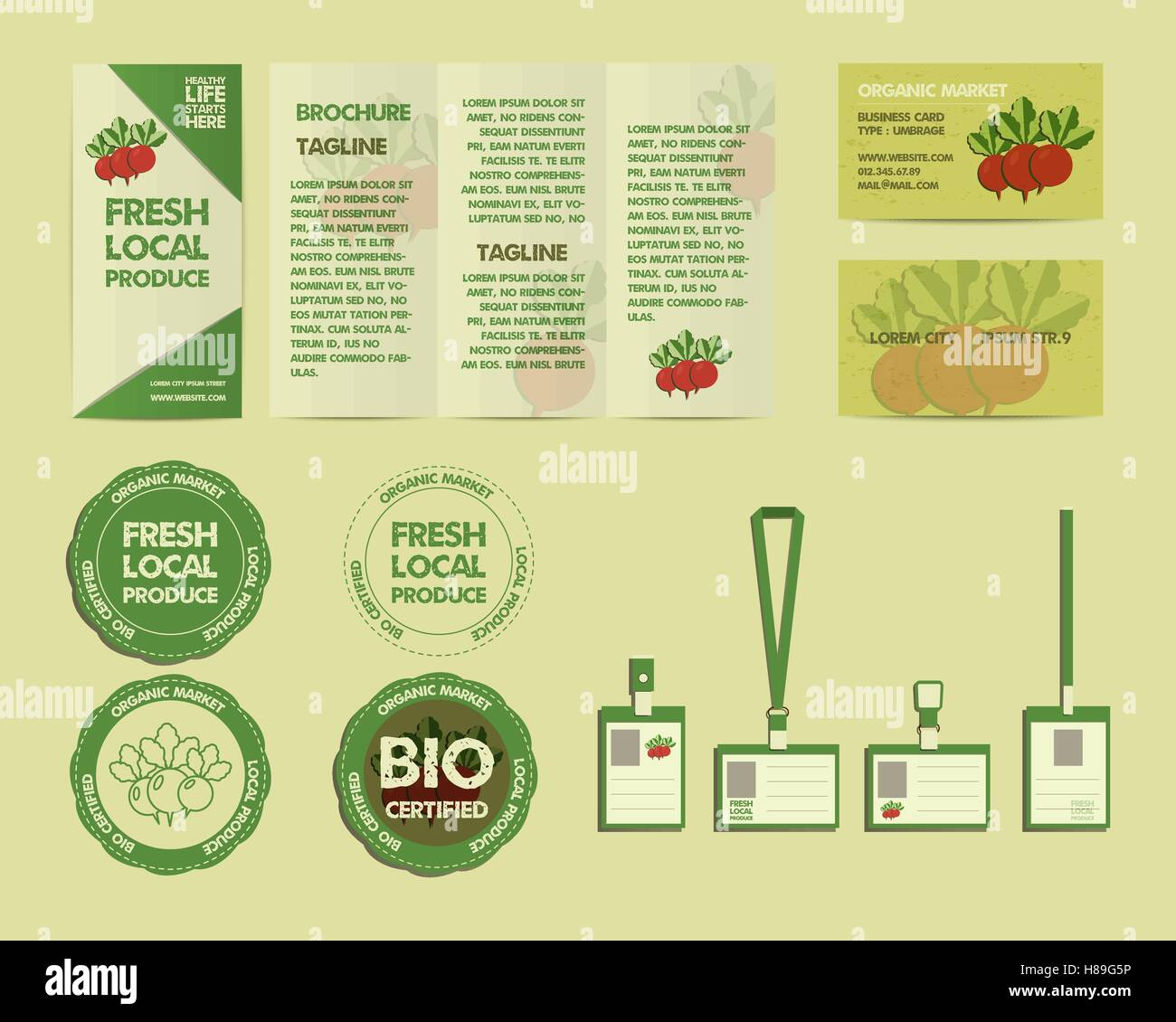 hight resolution of set of summer farm fresh branding identity elements organic design mock up flyer logo template business card best for natural shop organic fairs